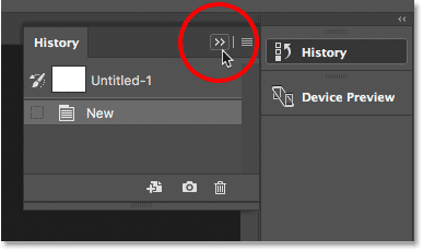 Clicking the double arrow icon to collapse the panel.