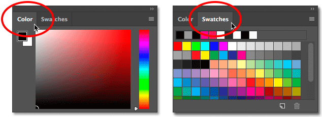 Switching between the Color panel and Swatches panel in Photoshop CC.