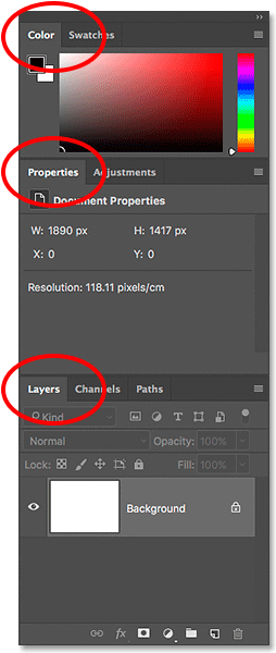 The Color, Properties and Layers panels in Photoshop C.
