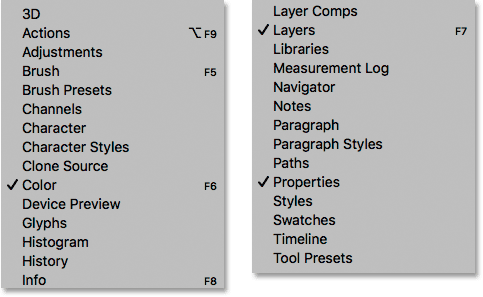 Each of Photoshop's panels can be opened and closed from the Window menu.