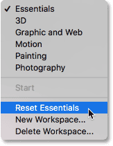 Choosing the Reset Essentials option in Photoshop CC.
