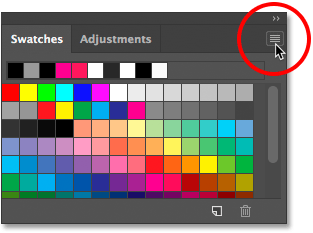 Selecting and closing a panel in Photoshop.