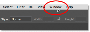Opening the Window menu in the Photoshop CC Menu Bar.