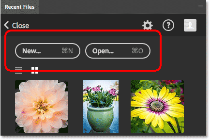 The Recent Files panel includes the same New and Open buttons from the Start screen. Image © 2016 Steve Patterson, Photoshop Essentials.com