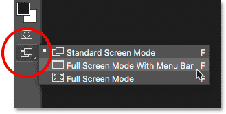 Selecting Full Screen Mode With Menu Bar from the Toolbar in Photoshop.