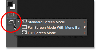 Viewing the Screen Modes at the bottom of the Toolbar in Photoshop.