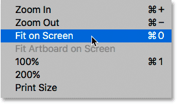 Selecting the Fit on Screen view mode in Photoshop.