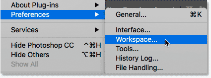 Opening the Workspace preferences in Photoshop CC.