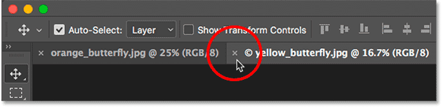 Closing a single tabbed document in Photoshop.
