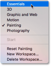 Switching back to Photoshop's default Essentials workspace.