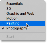 Choosing the Painting workspace in Photoshop.
