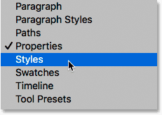 Opening the Styles panel from the Window menu in Photoshop.