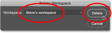 The Delete Workspae dialog box in Photoshop.
