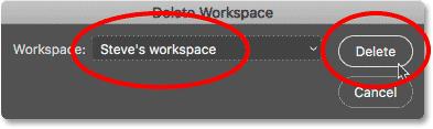 The Delete Workspae dialog box in Photoshop.