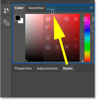 Dragging the Styles panel into the Color and Swatches panel group in Photoshop.