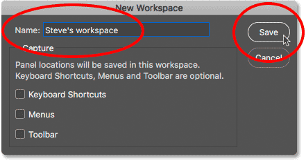 The New Workspace dialog box in Photoshop.