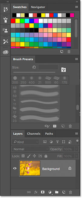 The Photography workspace panel layout in Photoshop.