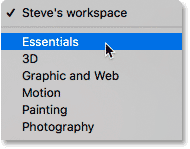 Choosing the default Essentials workspace in Photoshop.