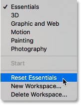 Resetting the Essentials workspace in Photoshop.