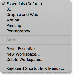 The list of Photoshop's workspaces under the Window menu.