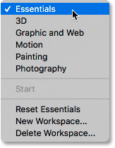 The list of Photoshop workspaces after clicking the Workspace icon.