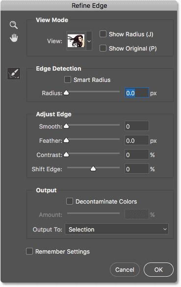 The Refine Edge dialog box in Photoshop CC 2018