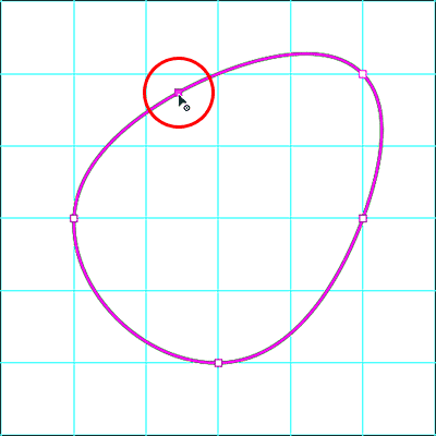 Adding a new anchor point by clicking with the Curvature Pen Tool