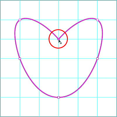 Converting a curve point to a corner point with the Curvature Pen Tool