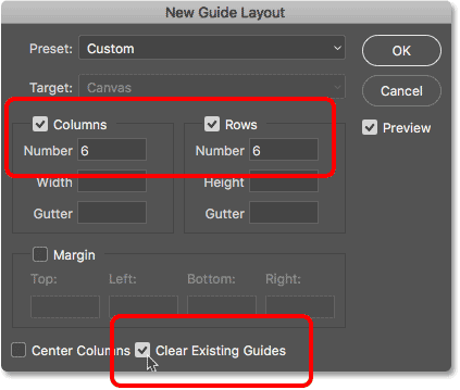 The New Guide Layout dialog box in Photoshop CC 2018