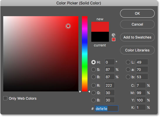 Choosing a new color for the shape from the Color Picker