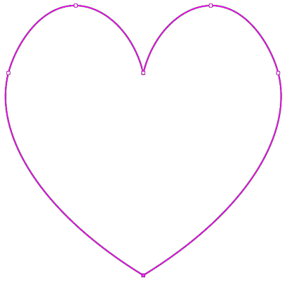 The heart shaped path drawn with the Curvature Pen Tool