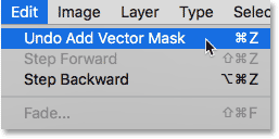 Selecting Undo Add Vector Mask from the Edit menu in Photoshop