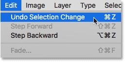 Choosing Undo Selection Change from the Edit menu