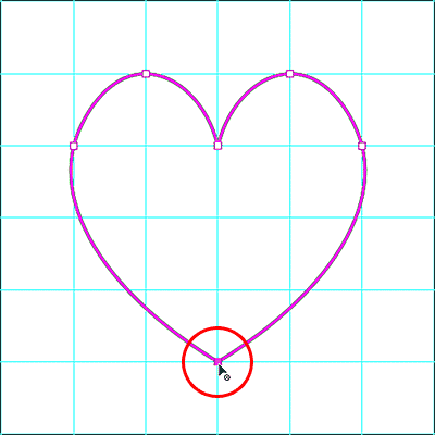 Completing the heart shape drawn with the Curvature Pen Tool