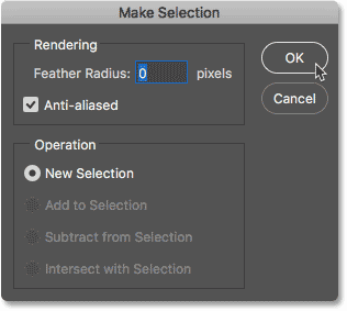 The Make Selection dialog box in Photoshop