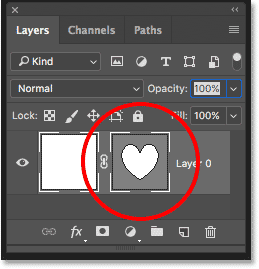 The Layers panel showing the new vector mask thumbnail