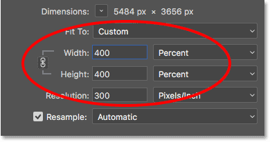 The Width and Height fields in the Image Size dialog box