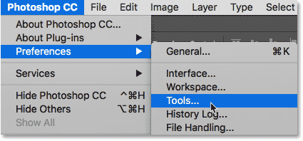 Opening the Tools preferences in Photoshop CC 2018