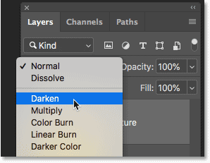 Hovering the mouse cursor over a layer blend modes name to view a preview in Photoshop CC 2019