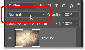 The layer blend mode option in the Layers panel in Photoshop CC 2019