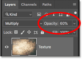 How to lower the intensity of a layer blend mode in Photoshop CC 2019