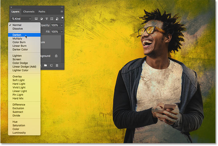 How to preview layer blend modes in Photoshop CC 2019