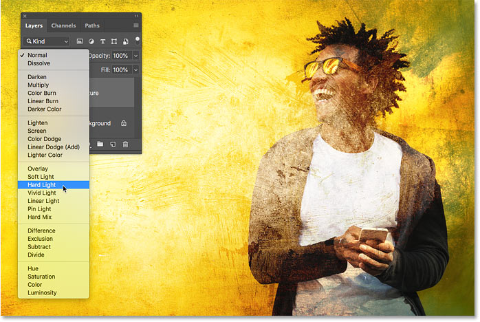 Previewing the Hard Light blend mode in Photoshop CC 2019