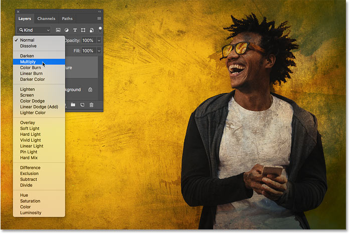 Previewing the Multiply blend mode in Photoshop CC 2019