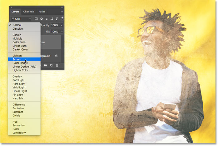 A live preview of the Screen blend mode in Photoshop CC 2019