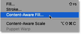 Selecting the new Content-Aware Fill command in Photoshop CC 2019