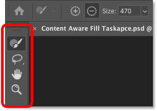 The Content-Aware Fill toolbar in Photoshop CC 2019.