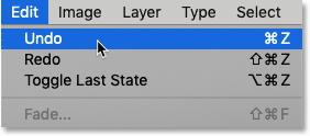 The Undo and Redo commands in the Edit menu