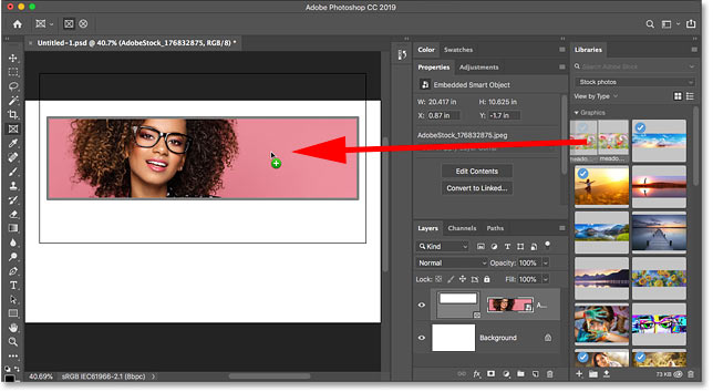 Dragging the replacement image from the Libraries panel onto the frame in Photoshop CC 2019