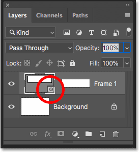 The new Frame layer in the Layers panel in Photoshop CC 2019